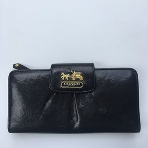 Coach Black Leather Waller Gold Logo Gorgeous